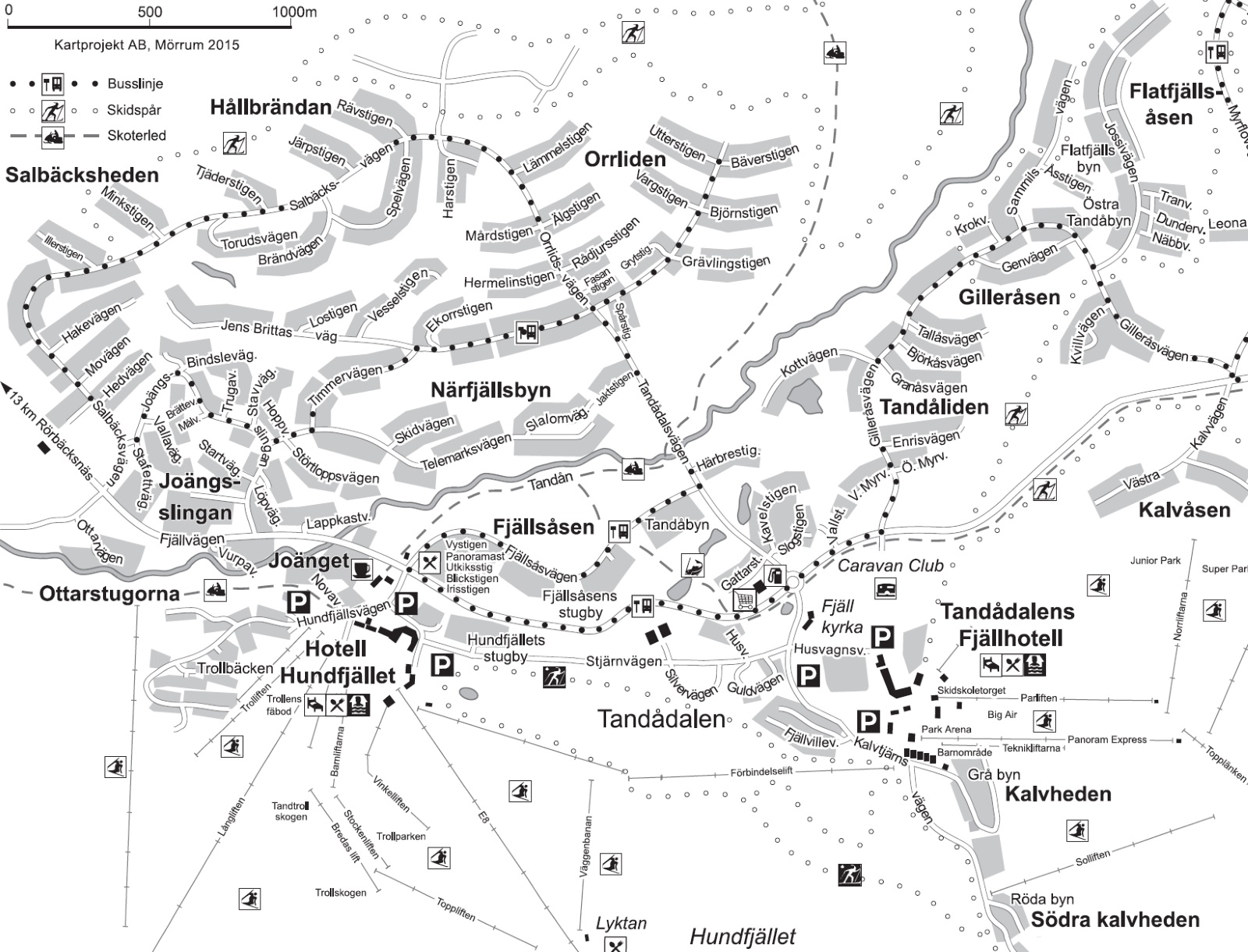 Karta över Tandådalen